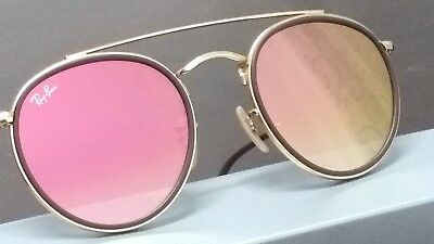 124aa52391 Ray-Ban RB3647N 001 7O 51-22 ROUND DOUBLE BRIDGE Sunglasses Gold 2018