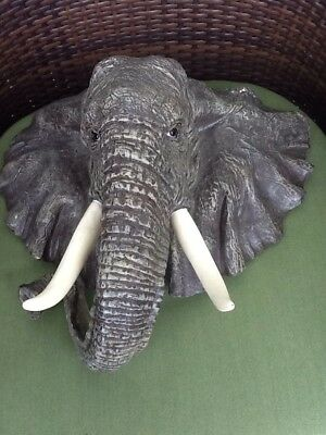 "16"" African Elephant Head Statue Wall Hanging Mounted Sculpture Model Home Decor"
