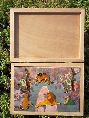 Disney's THE LION KING Exclusive (RARE) 6 Pin Collection Set in Wooden Box