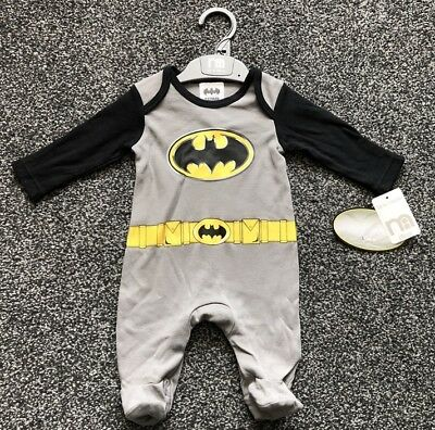 DC BATMAN Baby Boy Sleep Suit Babygrow All in One Mothercare NEW Up to 1 Month