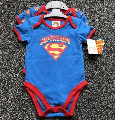 SUPERMAN Superbaby Baby Boy 2 Vests Sleep Suit Up to 6 to 9 Month Mothercare NEW