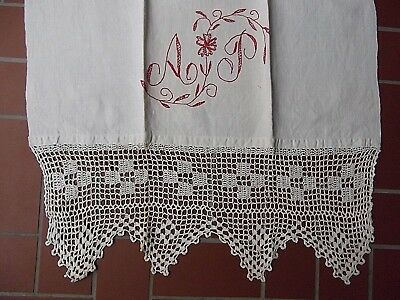 antique vtg French metis slub linen crochet lace pillow sheet 27x88 monogram AP?