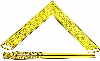 "Masonic Lodge Ceremonial Accessories GOLD PLATED 6"" LARGE Square & Compass Bible"