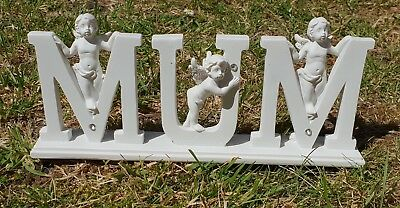 Mum Letters Grave Memorial Ornament Remembrance Mum Cherub Letters Plaque