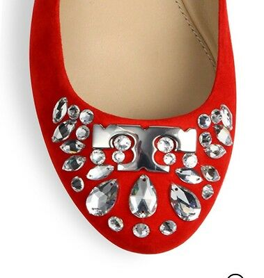 Tory Burch Ballet Flat NWB 6M DELPHINE Red Suede Crystal Design