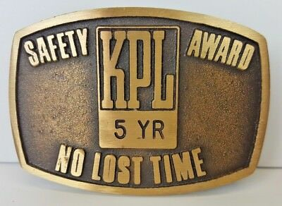 Vintage KPL Collector's Metal Belt Buckle - Safety Award No Lost Time