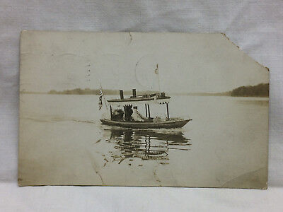 Vintage Postcard 1912 Man on the Lake In a Steam Boat Canal River Nautical RPPC