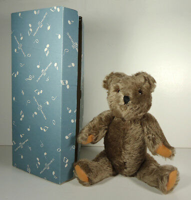 "Vintage 1950's REUGE MUSICAL MOHAIR 13"" TEDDY BEAR & Original Box - Moving Head"