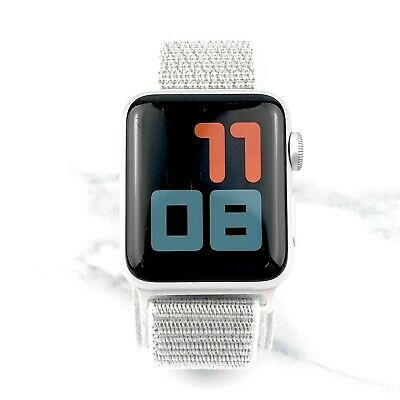 Apple Watch Series 3 38mm Silver Aluminium Case with Silver Nylon Loop GPS 7/10