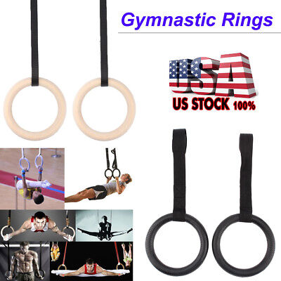 Gymnastic Olympic Gym Rings + Adjustable Buckle Straps Strength Pull Up Training