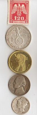 -*free *WWII- us -*NICKEL + *WW2 - *german  SILVER  EAGLE coin/stamp