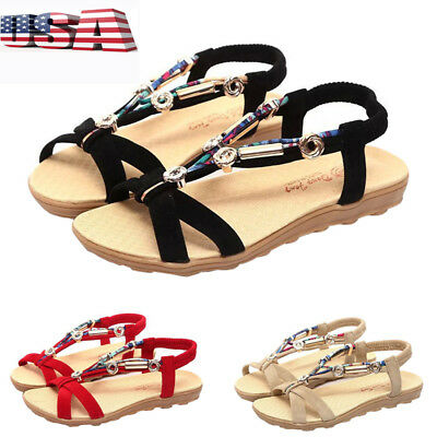 bb8babda50b4cf Sexy Women Lady Boho Slippers Flip Flops Flat Sandals Shoes Beach Thong  Shoes US