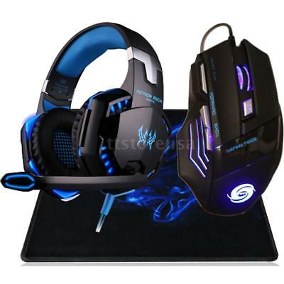3.5mm Gaming Headset MIC LED Headphones+ USB Mouse Mice for PC Laptop Gamer M4T2