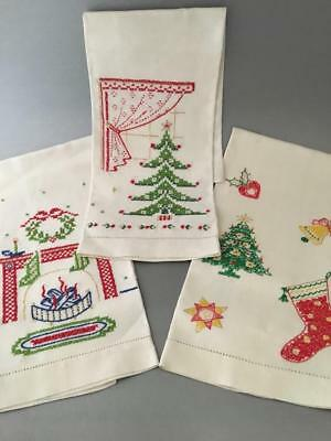 Vtg Hand Embroidery 100% Linen Cross Stitch Xmas Tree Bell Guess Hand Towel Set