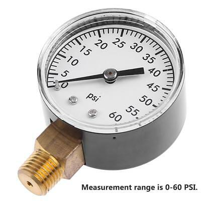 1/4 Inch NPT 2 Inch Face Side Mount 0-60 PSI Air Pressure Gauge Tester