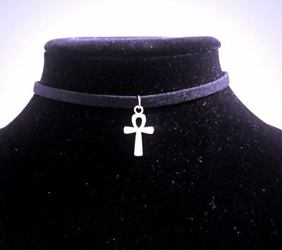 Small Silver Ankh Choker Necklace - Egyptian Spiritual Pendant