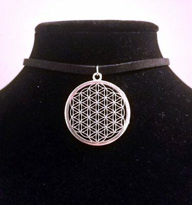 Silver Flower of Life Choker Necklace - Sacred Geometry Jewelry