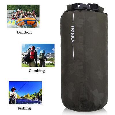 8L Portable Waterproof Dry Bag Backpack Pouch For Outdoor Boating Camping Black