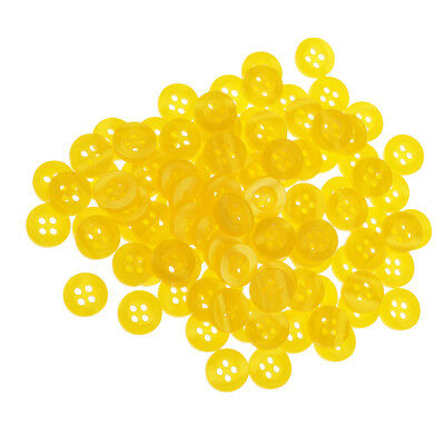 100x Round Resin Sewing Buttons 4 Holes Sewing Craft Accessories 11mm Yellow