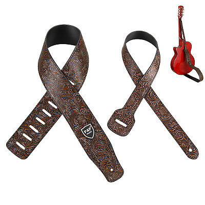 Embossed Brown Guitar Strap Adjustable PU Leather Electric Acoustic Guitar Bass