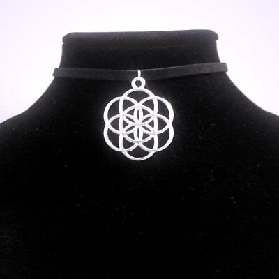 Silver Seed of Life Choker Necklace - Sacred Geometry Pendant