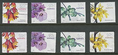 Australian Stamps: 2007 Wild Flowers - Set of 4 Sheet and 4 P&S - Used