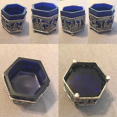 Antique Sterling Silver Hexagon Cobalt Blue Open Salt