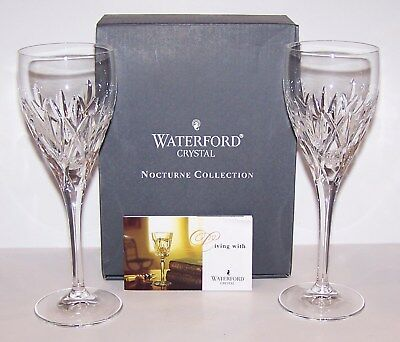 """Stunning Pair Of Waterford Crystal Nocturne Nightfall 7 3/4"""" Wine Glasses In Box"""