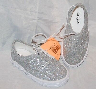 97a62170d835 New Toddler Girls Silver Glitter Cat & Jack Peony Slip On Sneakers Shoes  Size 5