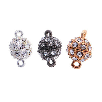 3x Rhinestone Paved Diamante Round Ball Magnetic Clasp Jewelry Findings 10mm