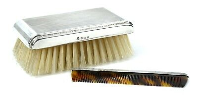 Vintage Sterling Silver Comb & Brush Set Engine Turned Cased Birmingham 1963