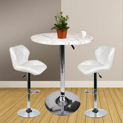 3 Piece Bar Table Set White Bar Stools Dining Chairs Counter Height Pub Kitchen