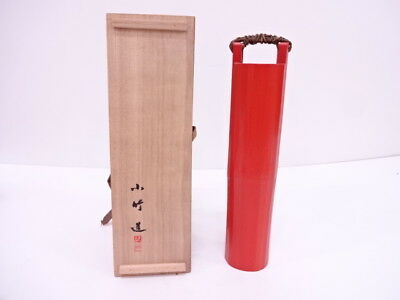 3599310: Japanese Tea Ceremony / Vermillion Lacquered Flower Vase By Shochiku Ta