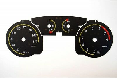 Fiat Bravo 2 - replacement dials in Abarth style BLACK Dial Conversion Kit MPH z