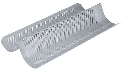 Chicago Metallic 41cm Perforated 2 Section Non Stick French Bread Baking Tray