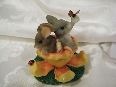 """Charming Tails Mouse & Bunny in a """"Blossom Built For Two"""" by Fitz and Floyd- NEW"""