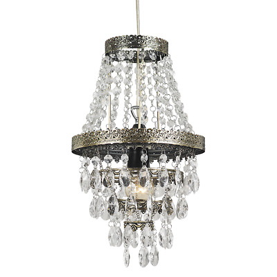 Traditional Modern Brass Chandelier - Clear Acrylic Beaded Ceiling Light Fitting
