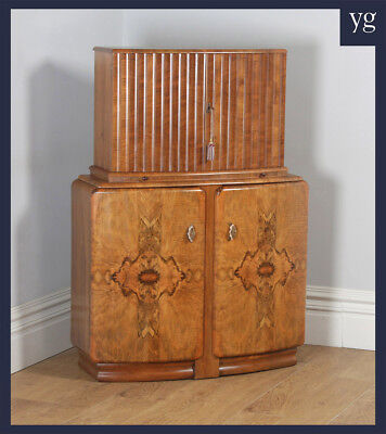Antique English Art Deco Burr Walnut Cocktail Bar Drinks Bow Front Cabinet c1930