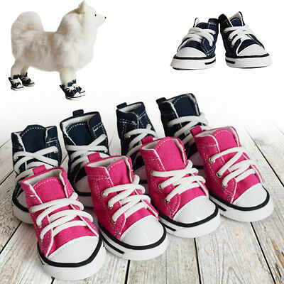4PCS Pet Dog Puppy Sporty Cloth Shoes Boots Blue Denim Canvas Sneaker Shoes