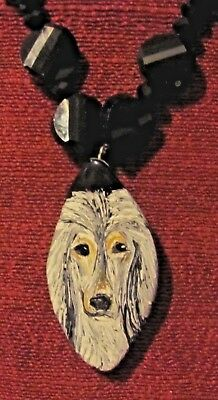"""Afghan Hound hand painted on a 2"""" marquise cut pendant/bead/necklace"""