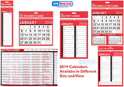 2019 Hanging Wall Calendar Large Month to View Planner-Easy View Calendar-Slim