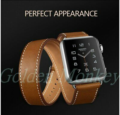 Extra Long Double Tour Genuine Leather apple Watch Band Strap F iWatch Series32