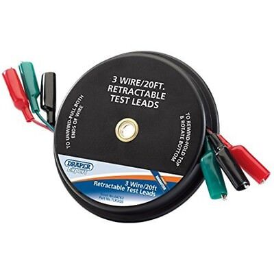 3 Wire/20ft Retrat. Test Leads - Draper Expert Wire Retractable 6476 20ft
