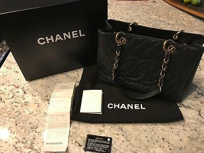 4813f57a3321d9 AUTHENTIC CHANEL GST Grand Shopping Tote Black Caviar Gold Hardware ...