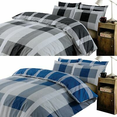 Dreamscene Check Duvet Cover with Pillow Case Bedding Set Tartan Black Grey Blue