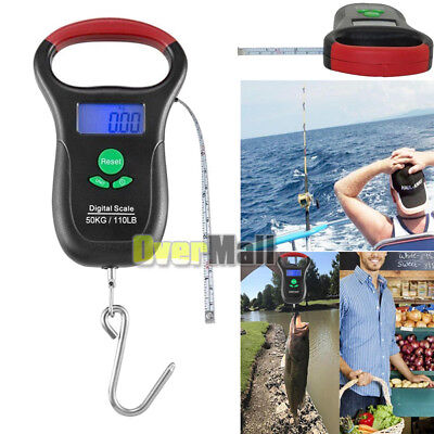 Digital Fishing Scale LCD Screen Portable Hanging Hook Tape 110lb/50kg Weight US