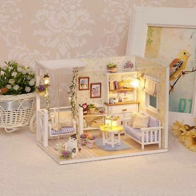 Doll House DIY Furniture Dust Cover 3D Wooden Mini Dollhouse Toy Birthday Gifts