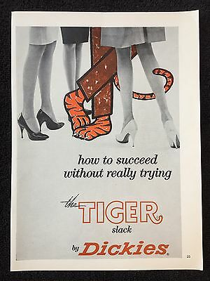 Vintage 1962 Original Print Ad DICKIES TIGER SLACK How to Succeed Without Trying