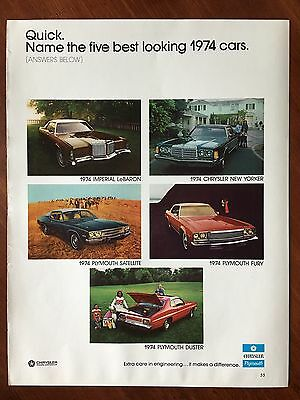 1974 Original Print Ad PLYMOUTH Five: DUSTER LeBARON NEW YORKER SATELLITE FURY