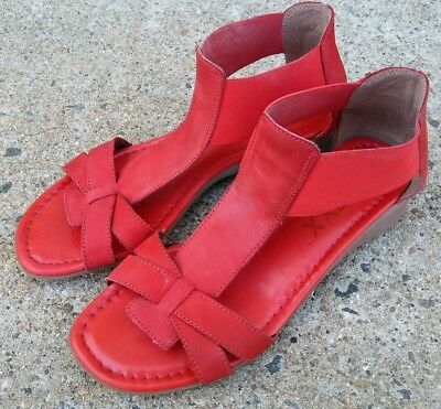 3116a8110753 THE FLEXX BAND Together Red Leather Elastic Sandals Women s Size 7 ...